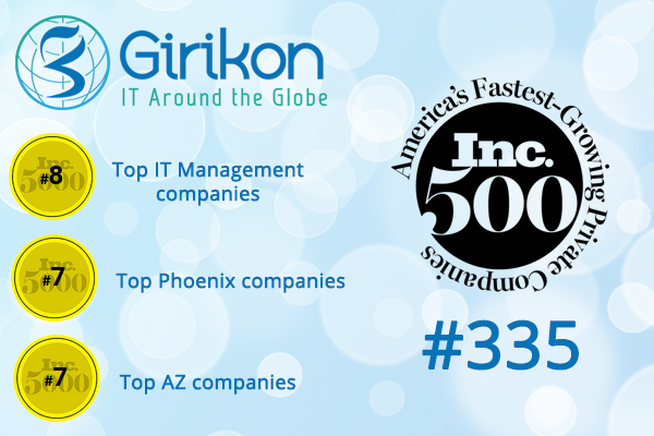 Girikon Ranks #335 in the Inc 2019 List of 500 Fastest Growing Companies
